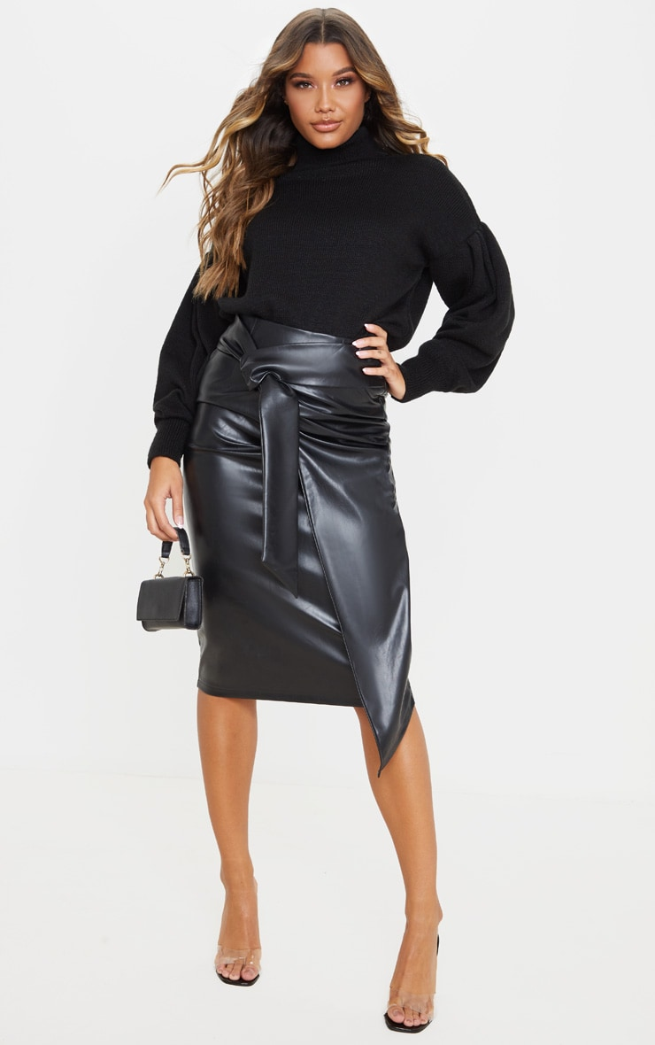 Black Faux Leather Drape Front Midi Skirt  1