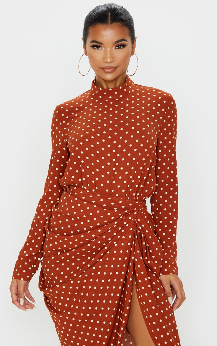 Terracotta Polka Dot High Neck Bodysuit 1