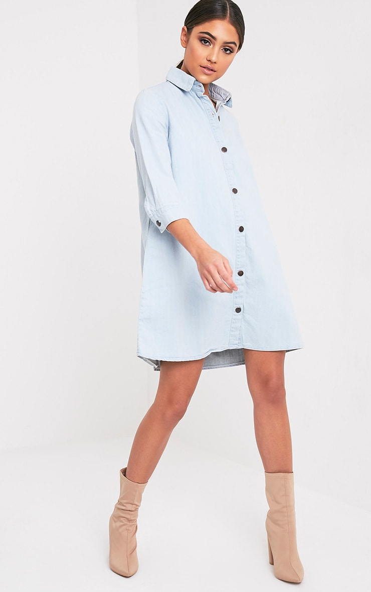 Marriet Super Light Wash Button Through Denim Shirt Dress 5