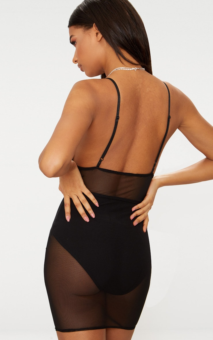Black Mesh Bust Detail Strappy Bodycon Dress 2