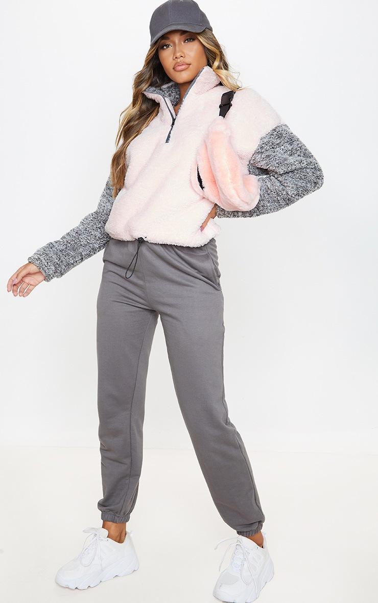 Grey Borg Contrast Crop Zip Sweater 4