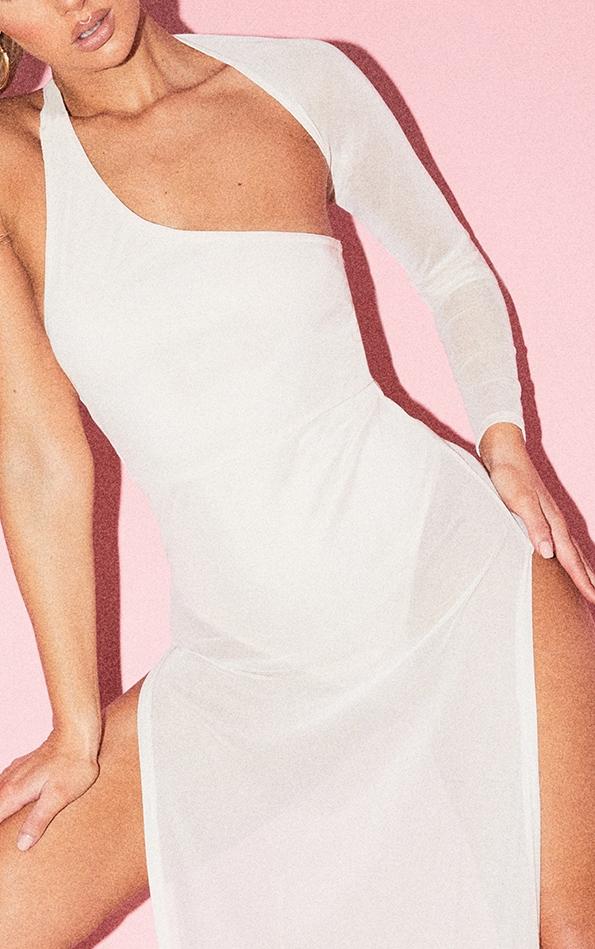Nude One Shoulder Sheer Mesh Skirt Maxi Dress 4