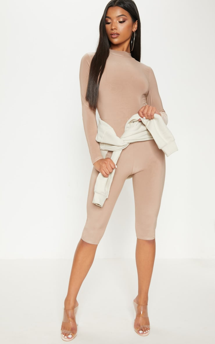 Taupe Second Skin Slinky High Neck Unitard