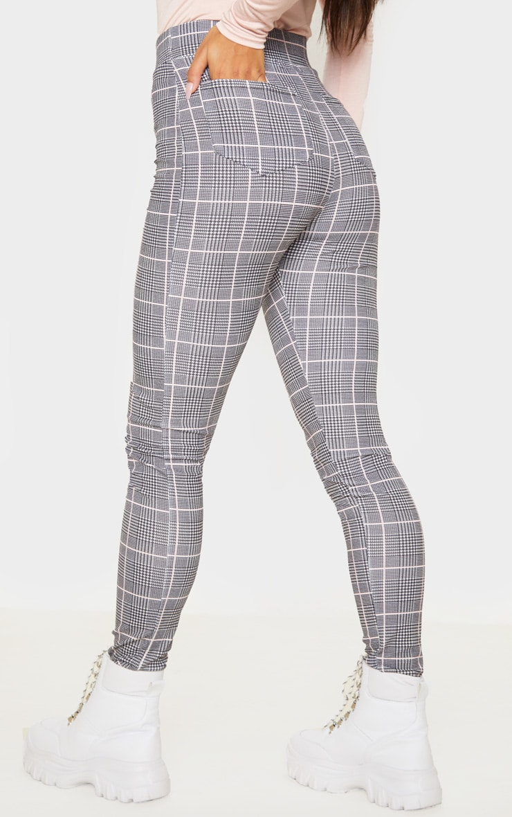 Black Check Print Skinny Pants 4