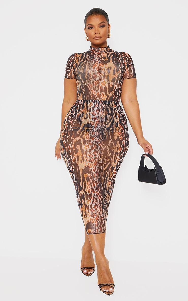Plus Brown Leopard Print High Neck Mesh Bodysuit 1