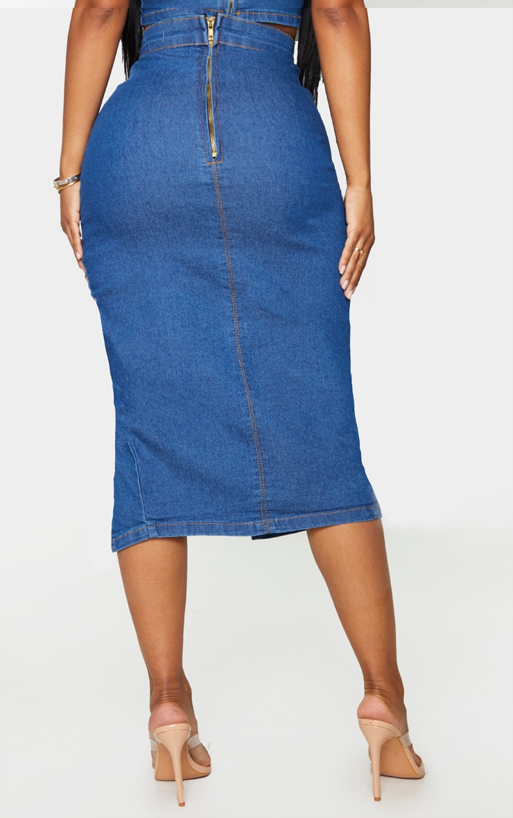 Shape Mid Blue Wash Denim Split Front Midi Skirt 3