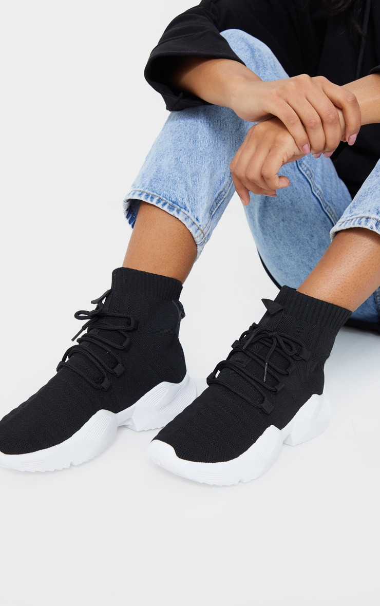 Black Lace Sock Trainer image 1
