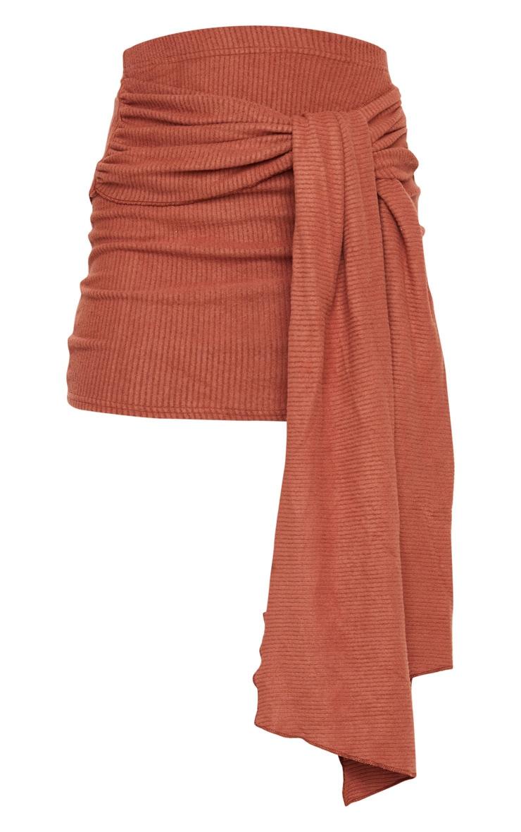 Chocolate Tie Detail Brushed Rib Mini Skirt 6