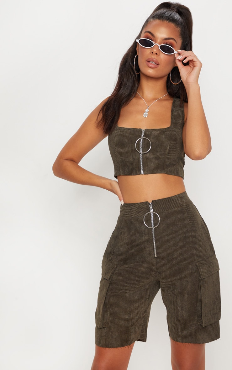 Khaki Cord Boyfriend Fit Shorts 1