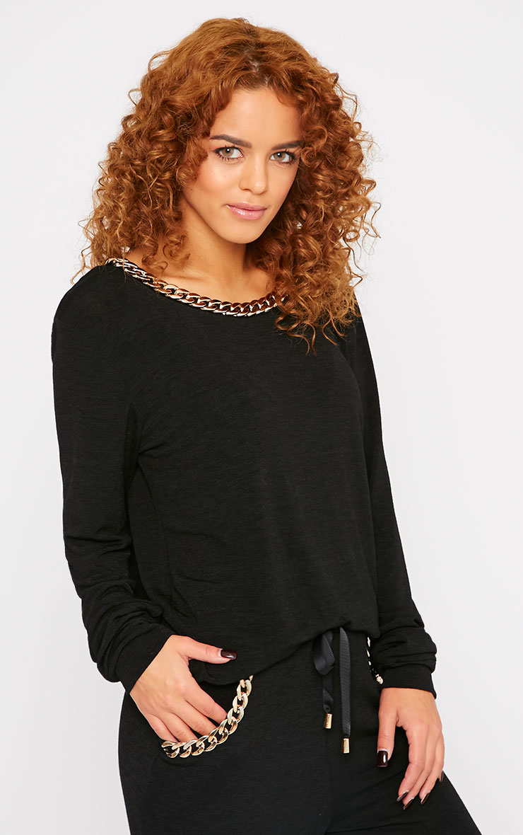 Jovana Black Chain Detail Sweater 1