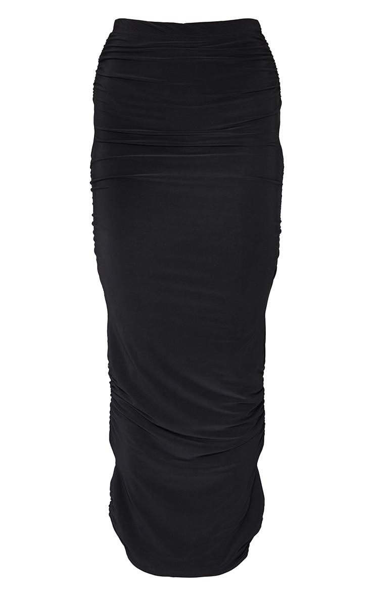Black Slinky Cut Out Maxi Skirt 5