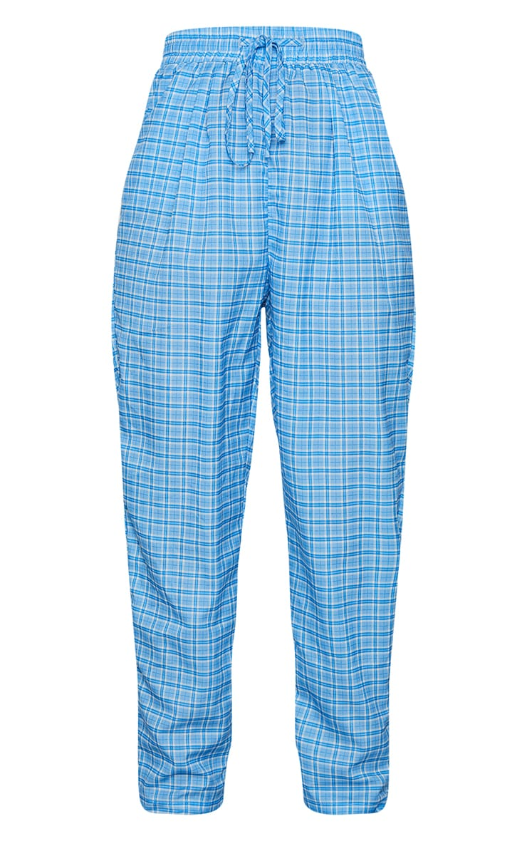 Blue Checked Casual Pants 5