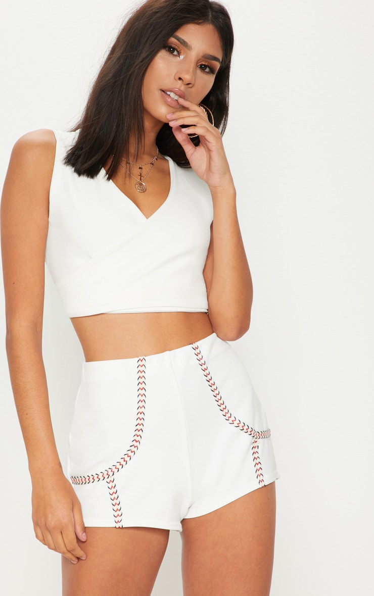 White Herringbone Tape Detail Short 1