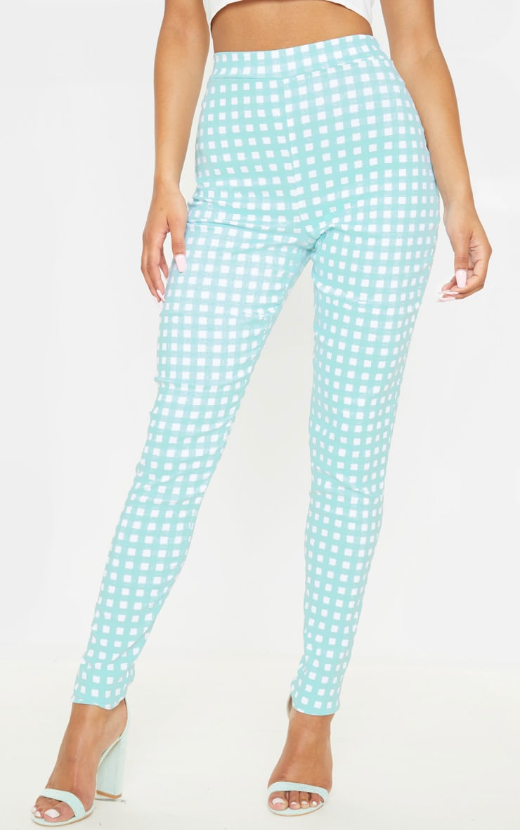 Mint Gingham High Waisted Woven Stretch Legging 2