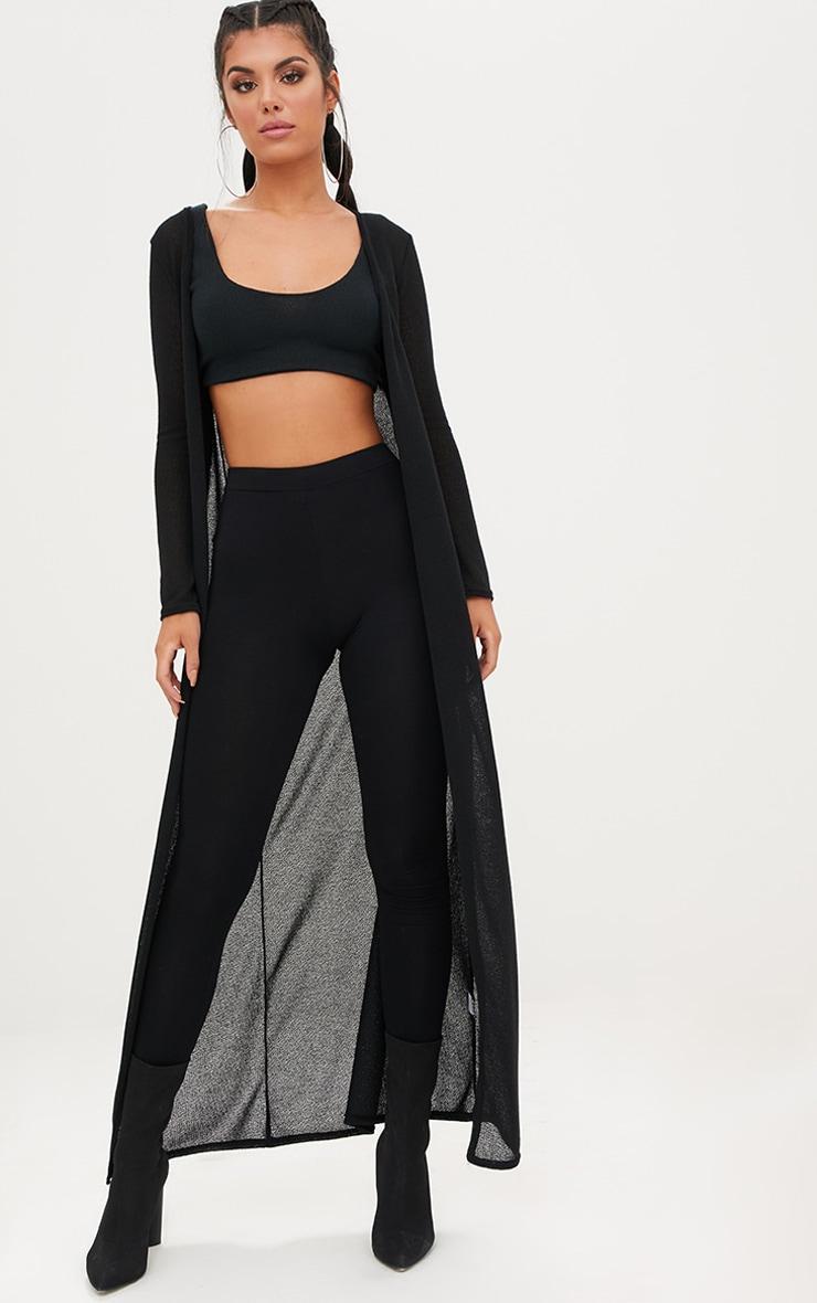 Black Lightweight Knit Longline Cardigan 1