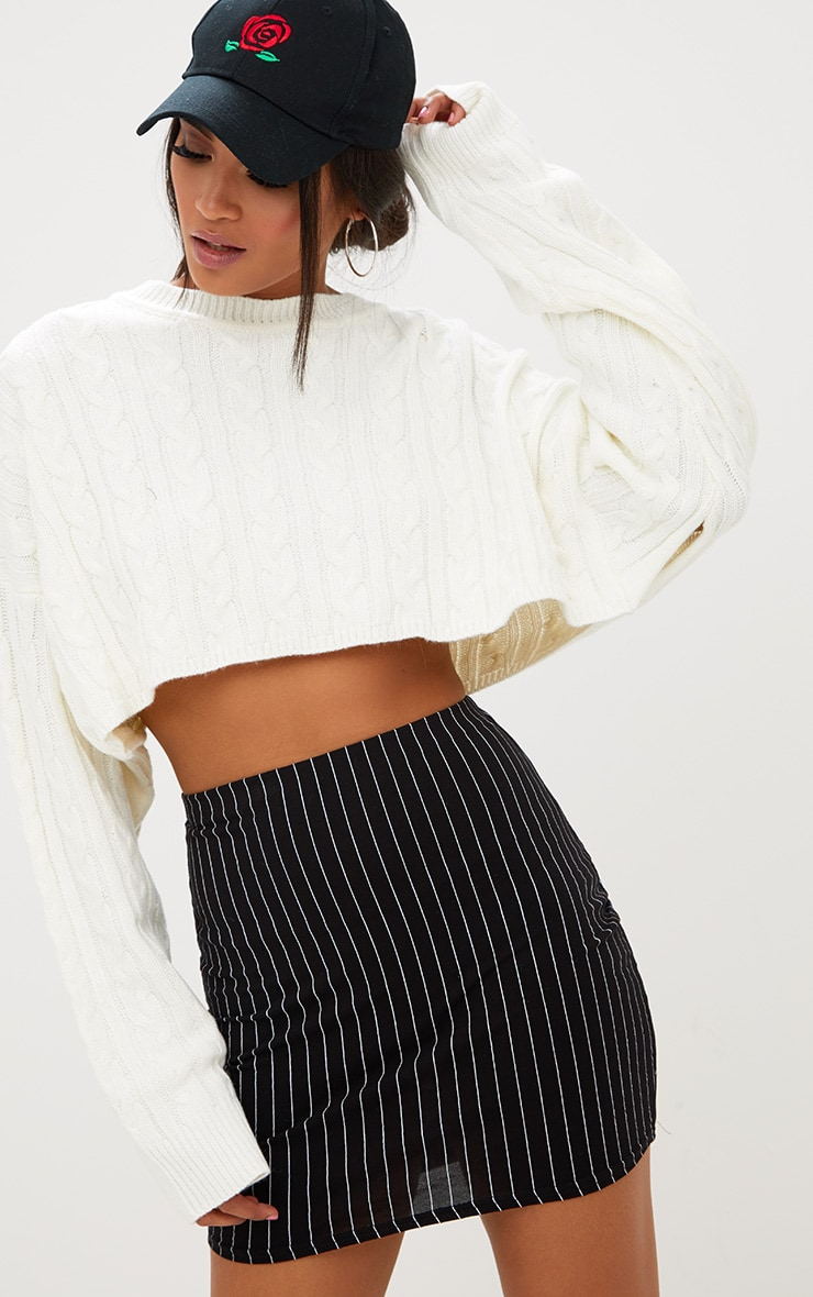 Black Jersey Pinstripe Mini Skirt 1