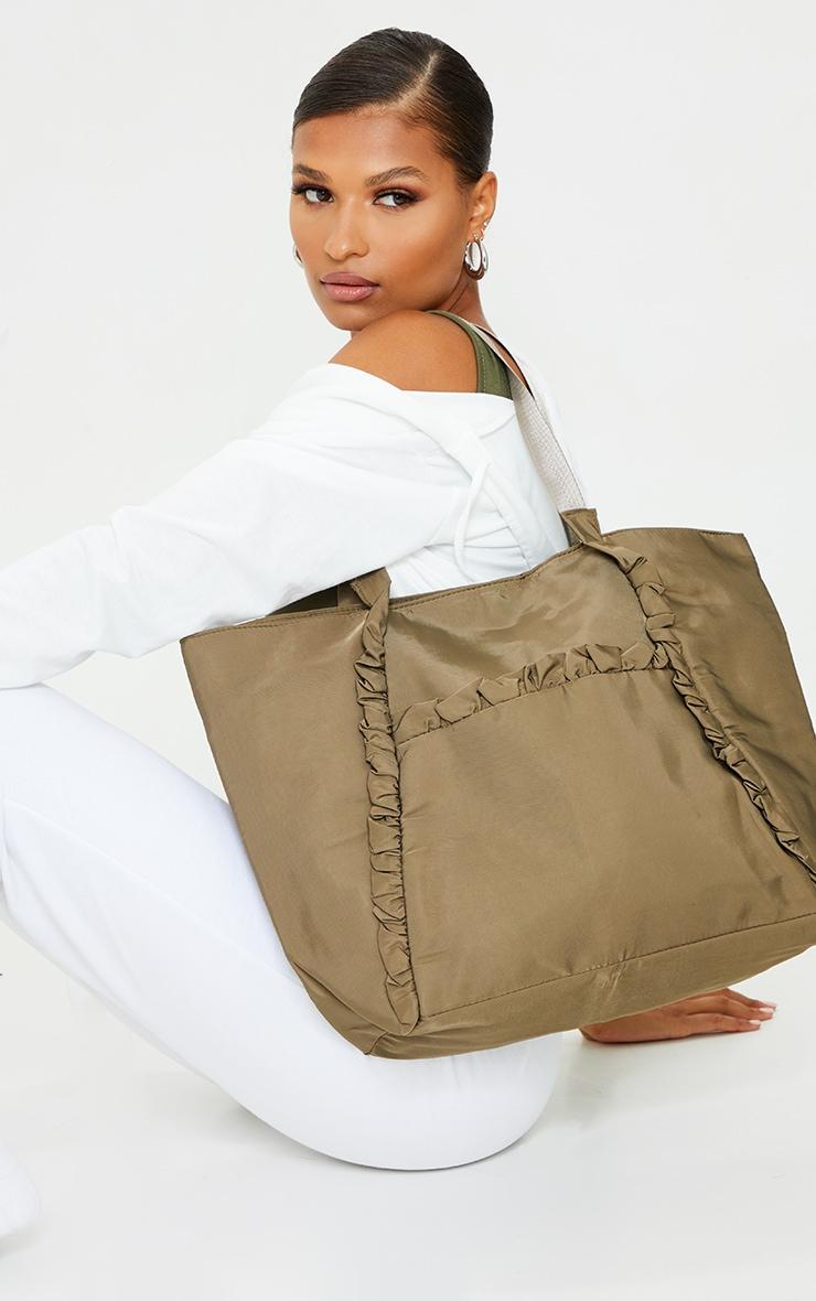 Khaki Ruffle Trim Tote Bag 1