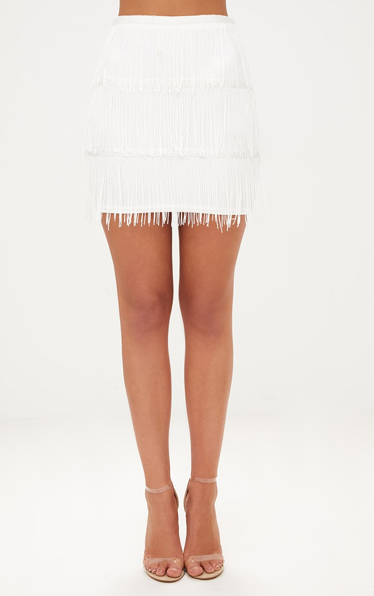 White Tassel Mini Skirt 2
