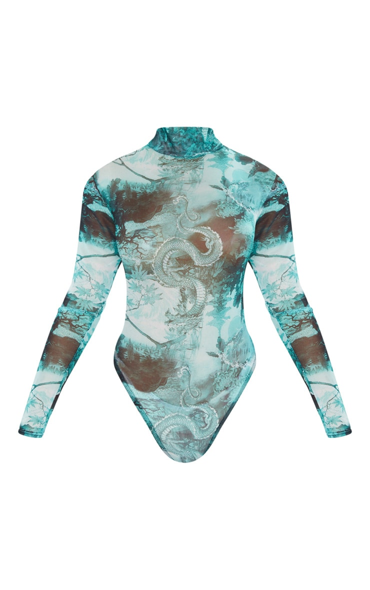 Emerald Green Dragon Print Mesh High Neck Long Sleeve Bodysuit 3
