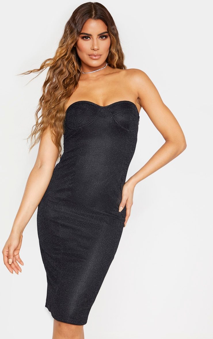 Tall Black Corset Glitter Midi Dress 1