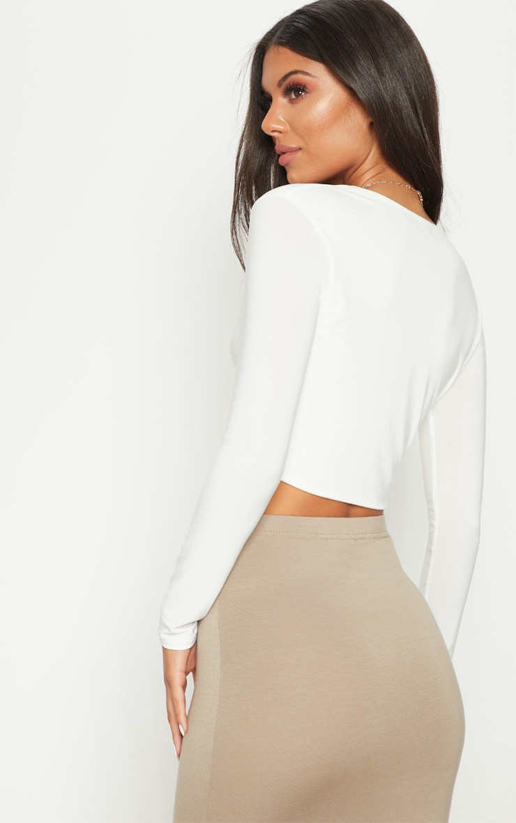 White Slinky Twist Front Long Sleeve Crop Top 2