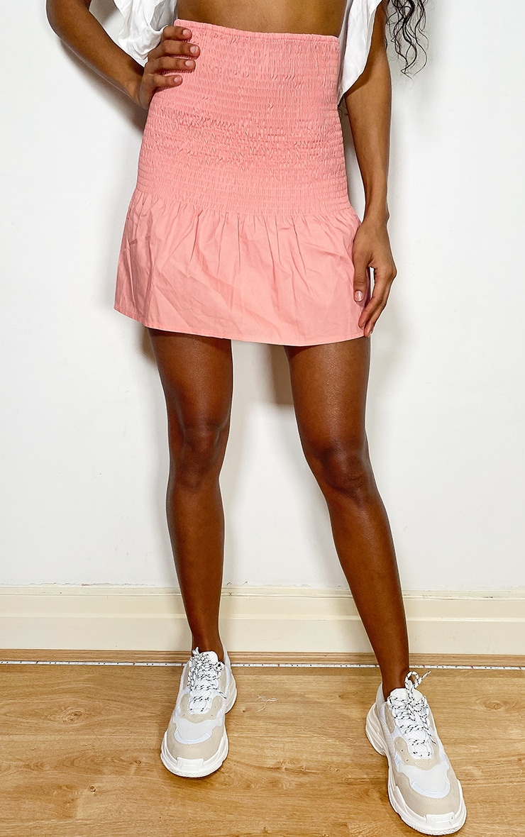 Coral Shirred Frill Hem Mini Skirt 2