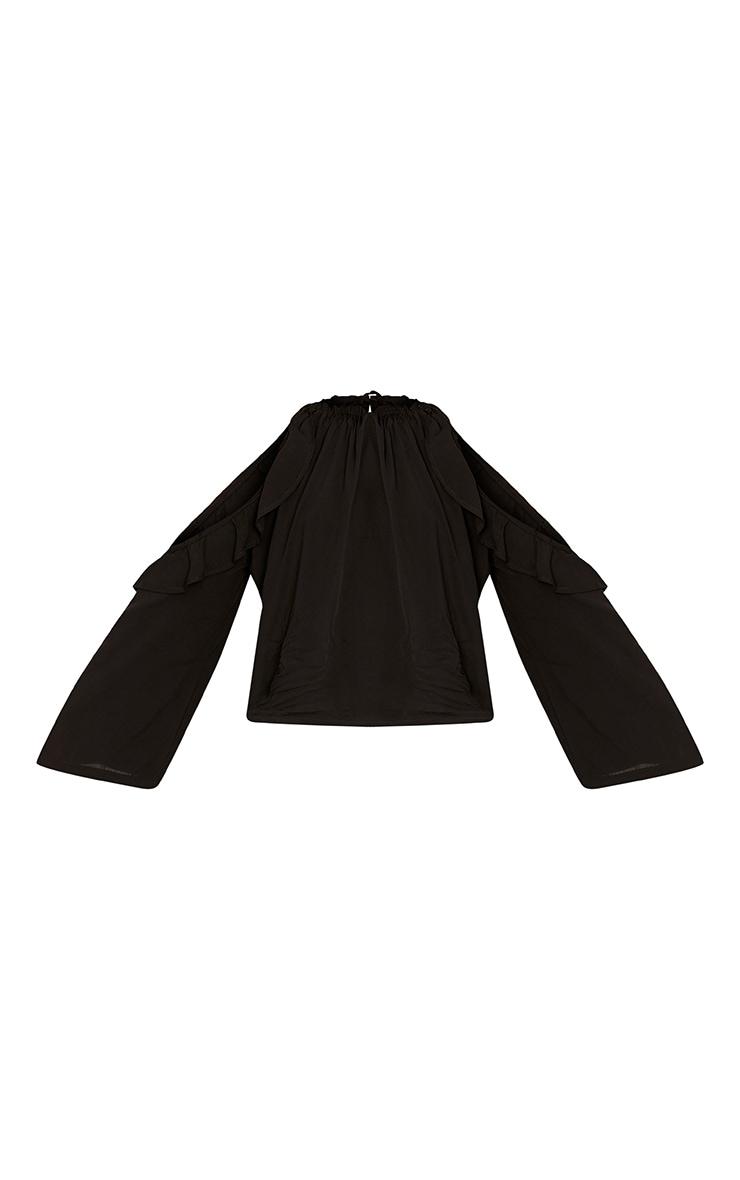 Avarnia Black Tie Open Back Long Sleeve Frill Blouse 3