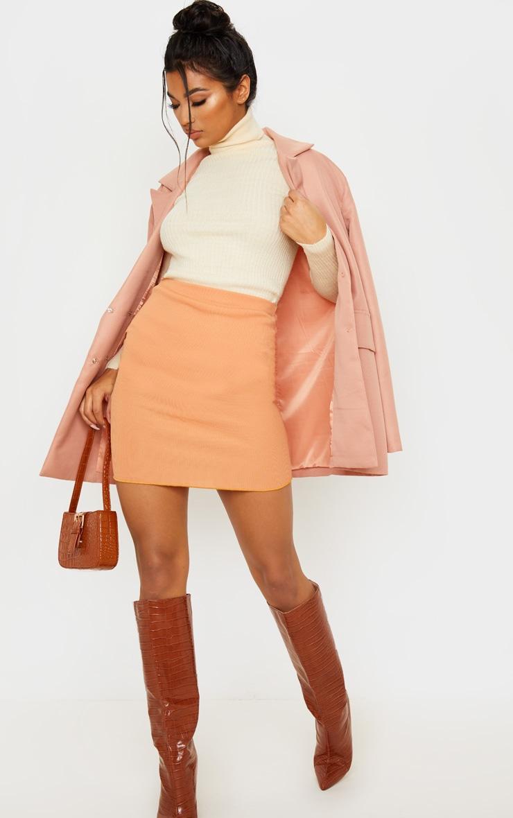 Camel Rib Lettuce Hem Mini Skirt 5