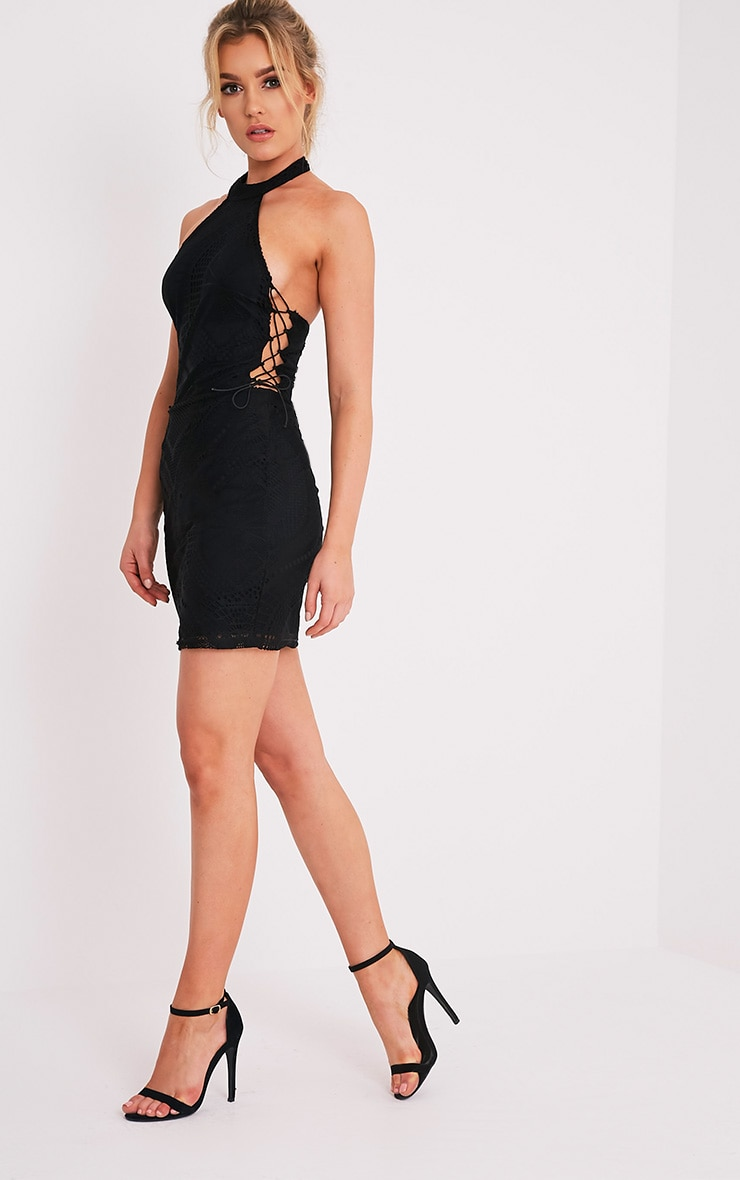 Kaitlan Black High Neck Lace Up Side Bodycon Dress 5