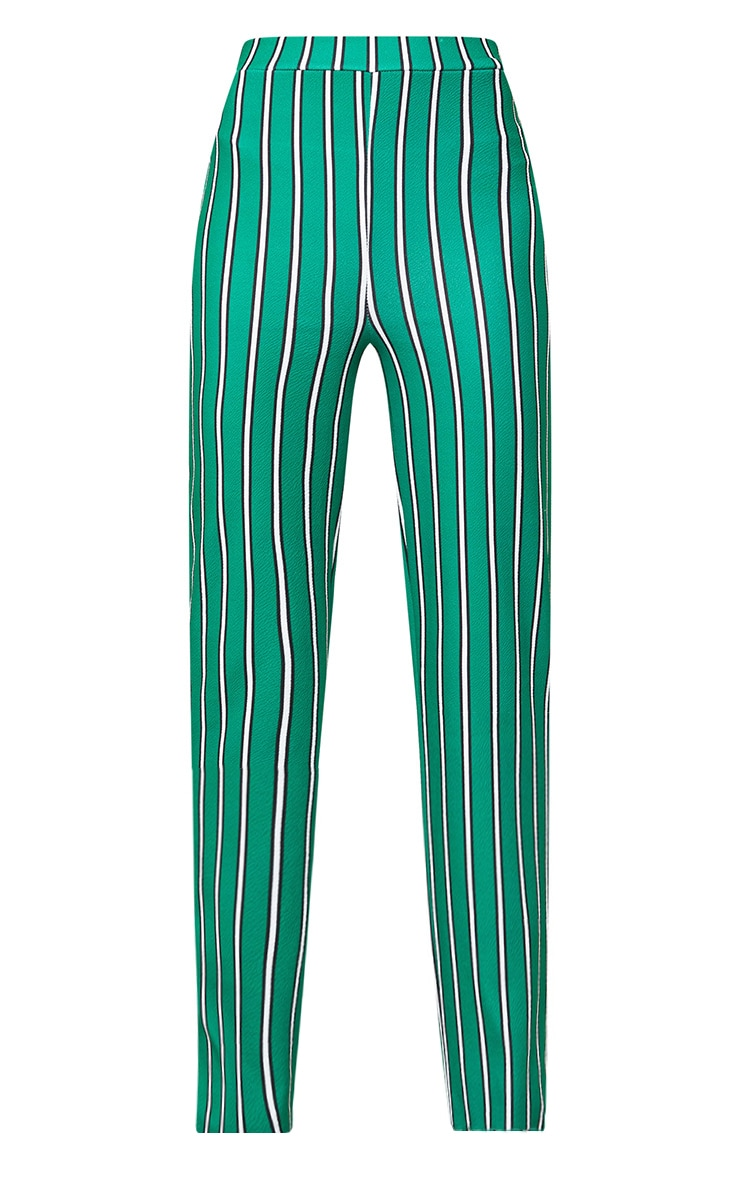 Green Stripe Straight Leg Suit Trousers 3