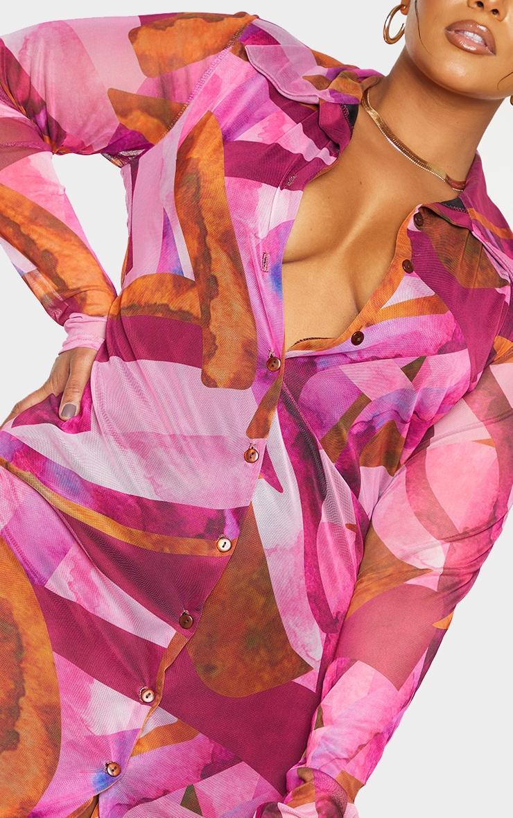 Plus Pink Abstract Mesh Button Down Shirt Dress 4