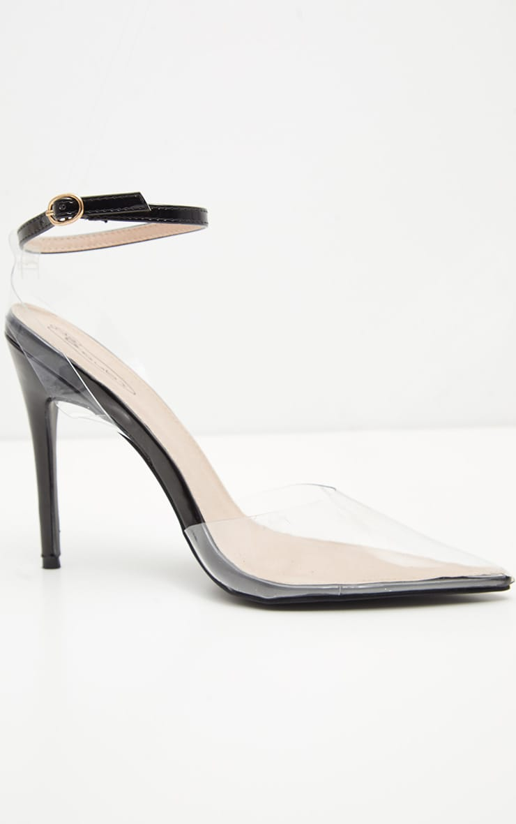 Black Clear Ankle Strap Court Shoes 3