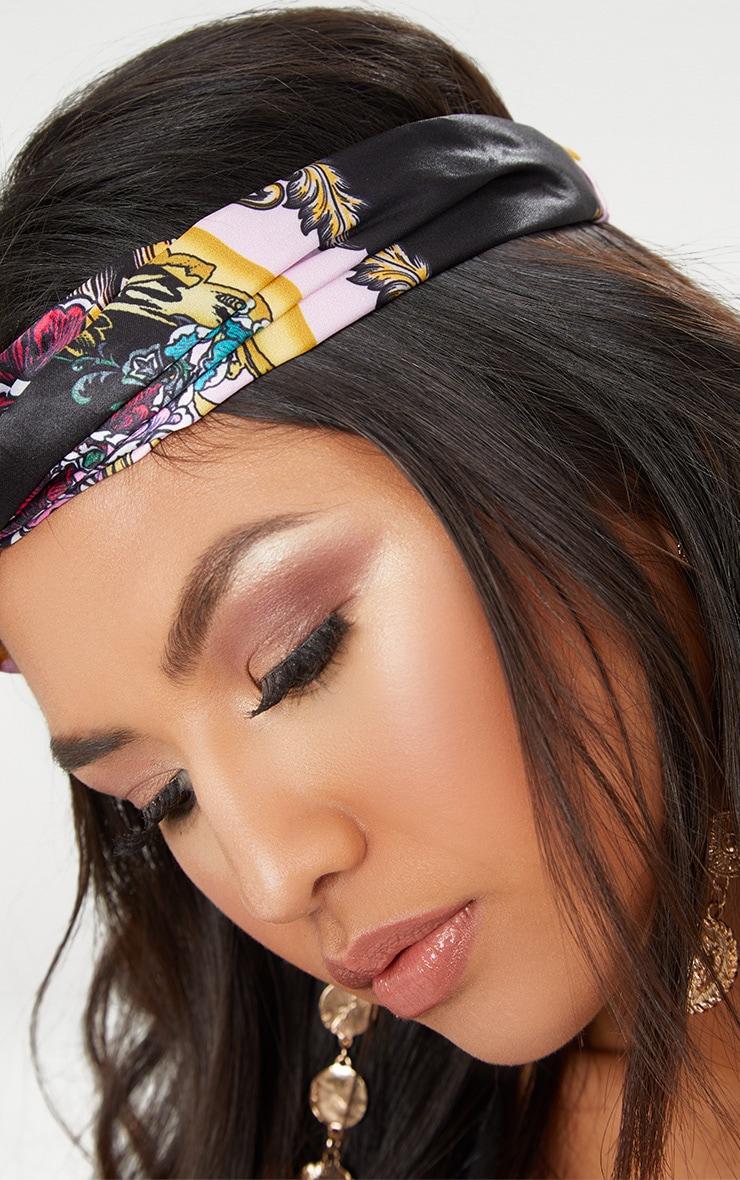Pink Satin Floral Print Headband 3