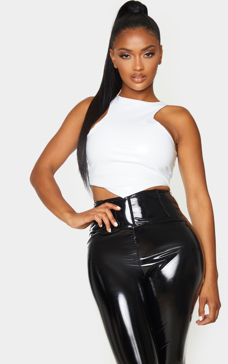 Shape Cream PU Embossed Curve Hem Crop Top 1