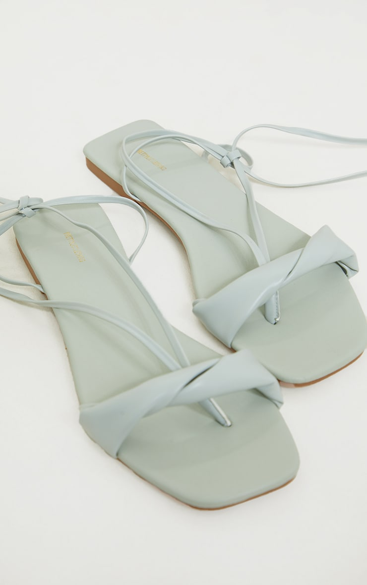 Sage Green PU Folded Square Toe Ankle Tie Sandals 3