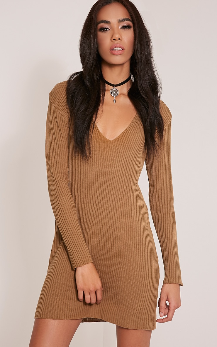 Navella Camel Deep V Knitted Jumper Dress 1