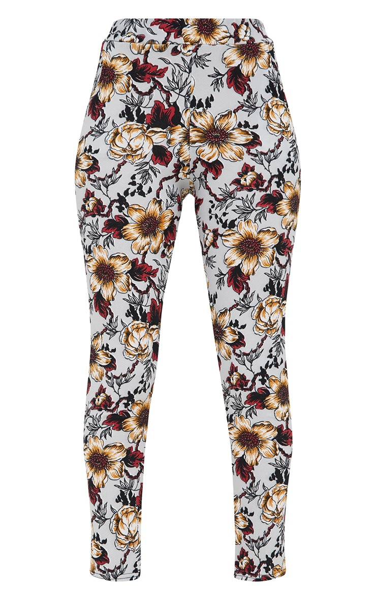 Grey Floral Skinny Trousers 3