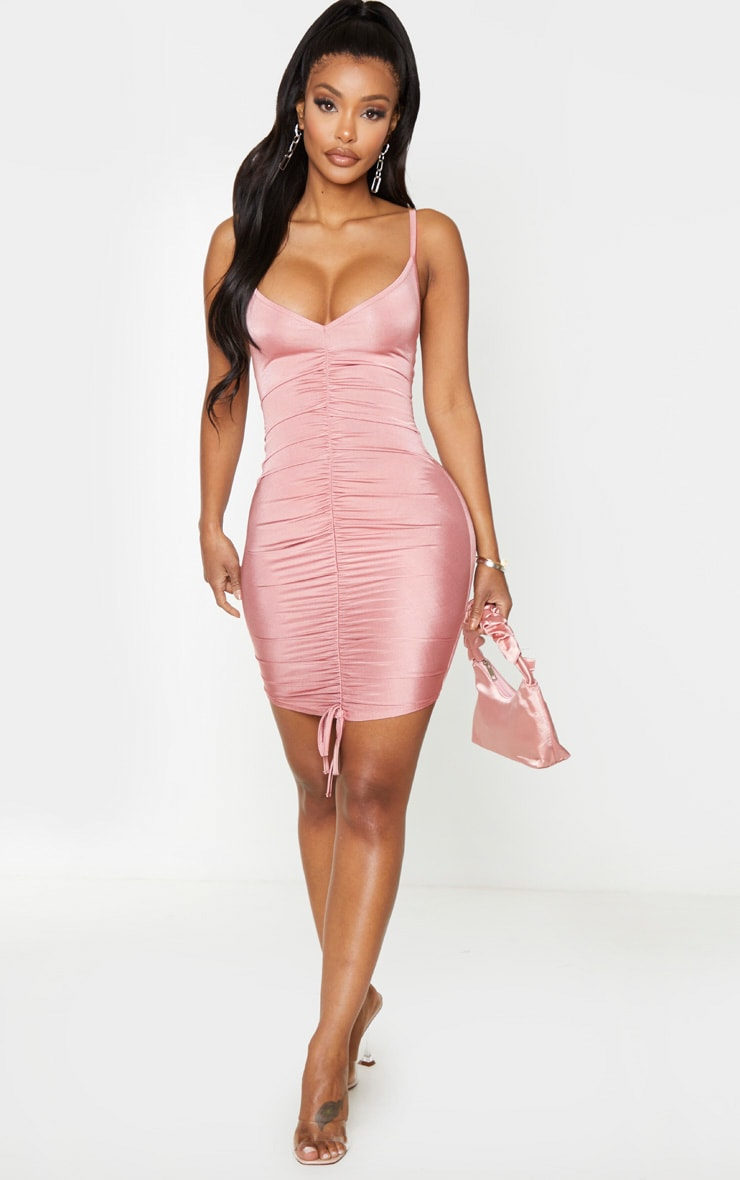 Shape Dusty Pink Slinky Ruched Front Strappy Bodycon Dress 2
