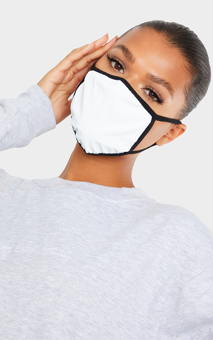 White Reflective Fashion Face Mask 1