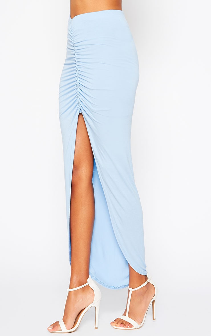 Omari Powder Blue Ruched Front Jersey Maxi Skirt 3