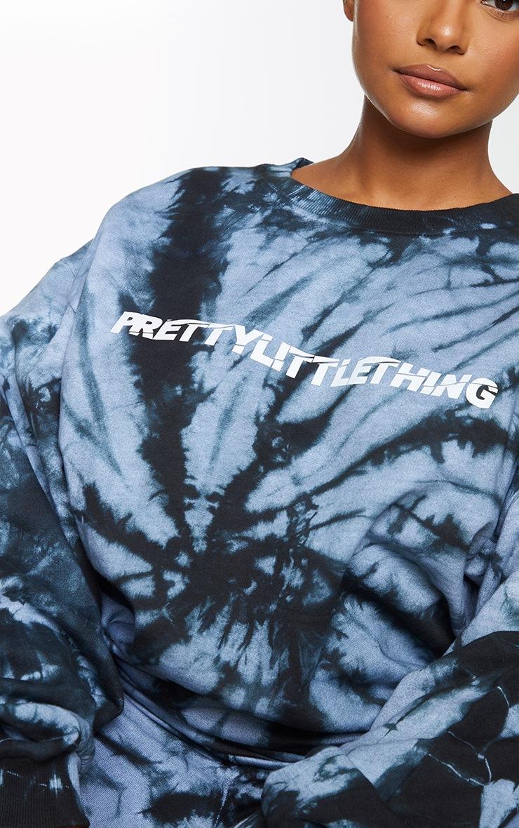 PRETTYLITTLETHING Plus Black Tie Dye Logo Front Sweatshirt 4