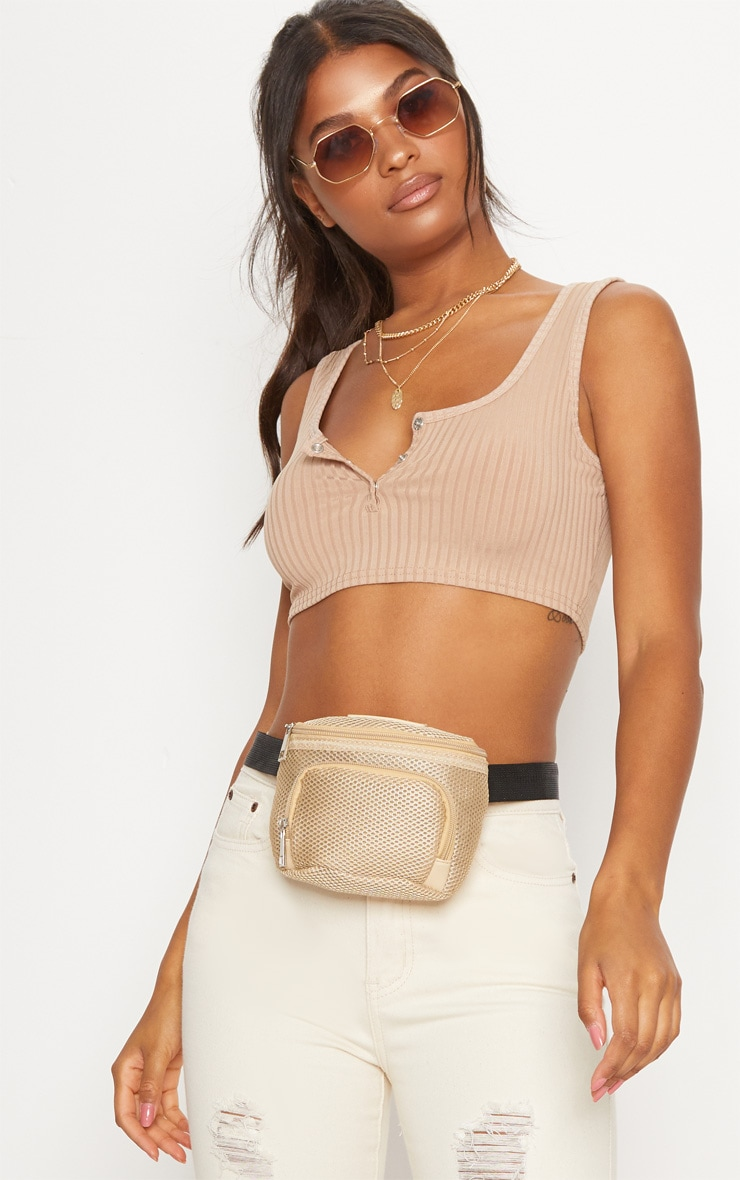 PRETTYLITTLETHING Cream Mesh Bum Bag 1