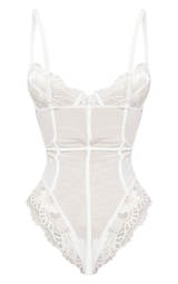 White Underwired Cage Detail Lace Body 6