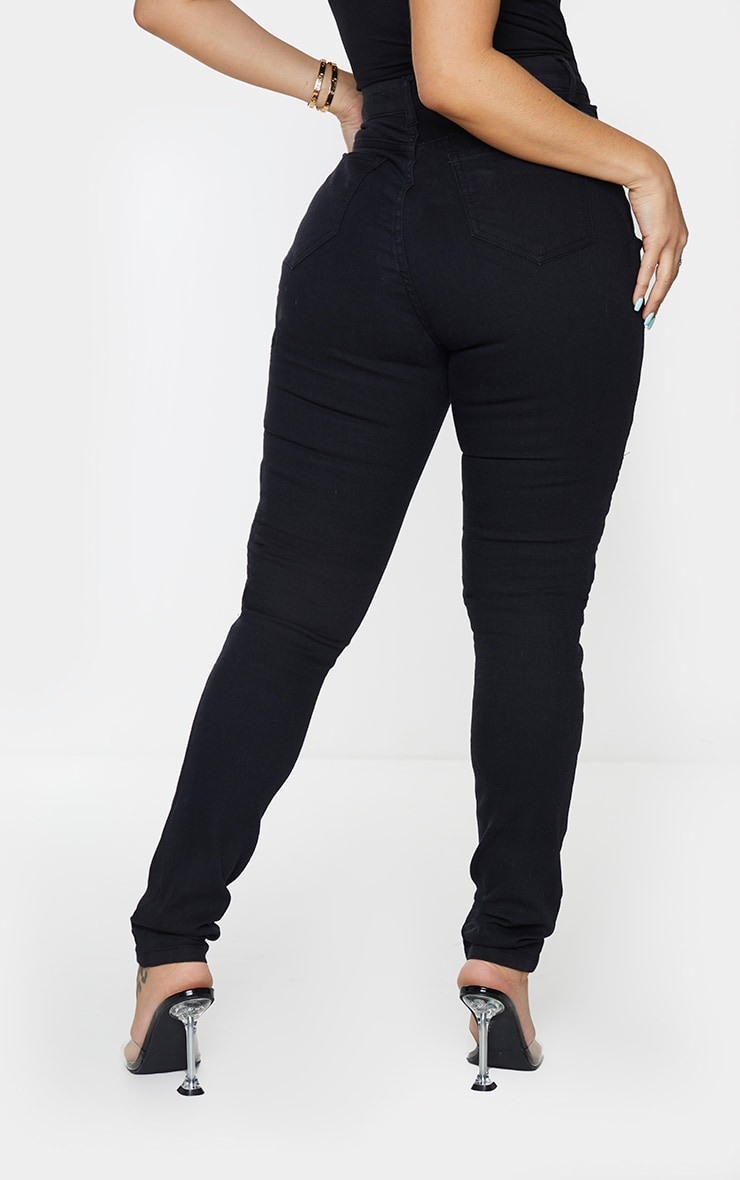 Shape Black Zip Detail Biker Skinny Jeans 3