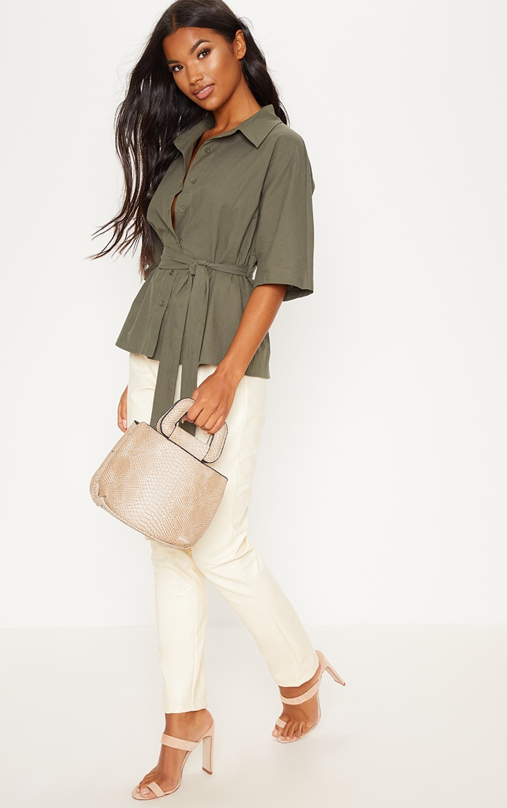 Khaki Oversized Short Sleeve Tie Shirt 4