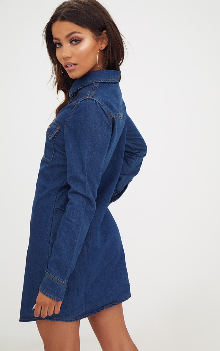 Dark Wash Button Up Denim Shirt Dress 2