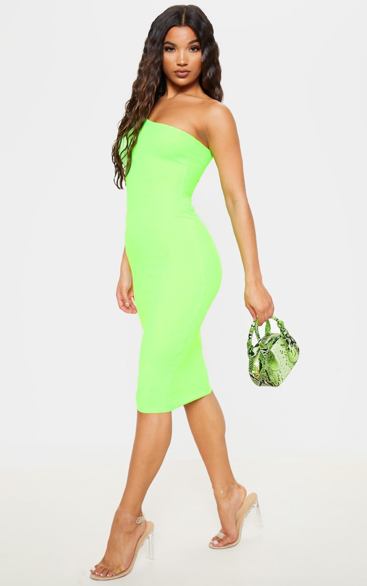 Neon Lime Ribbed One Shoulder Midi Dress 1