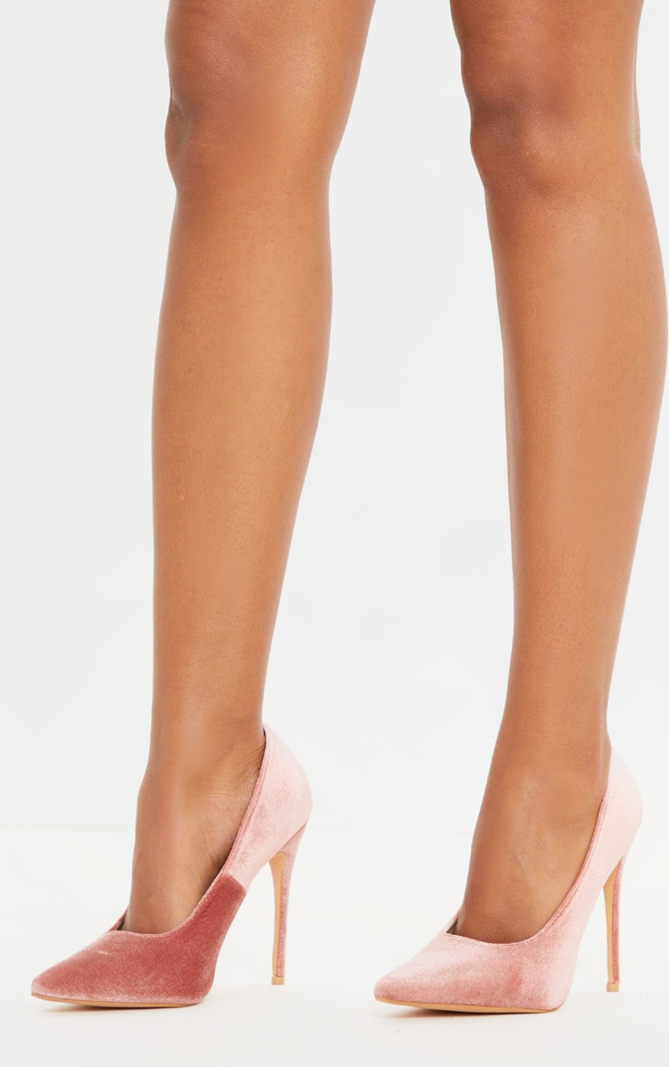 Blush Velvet Court Shoes 2