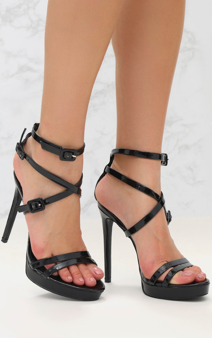Black PU Multi Buckle Heeled Sandal 1