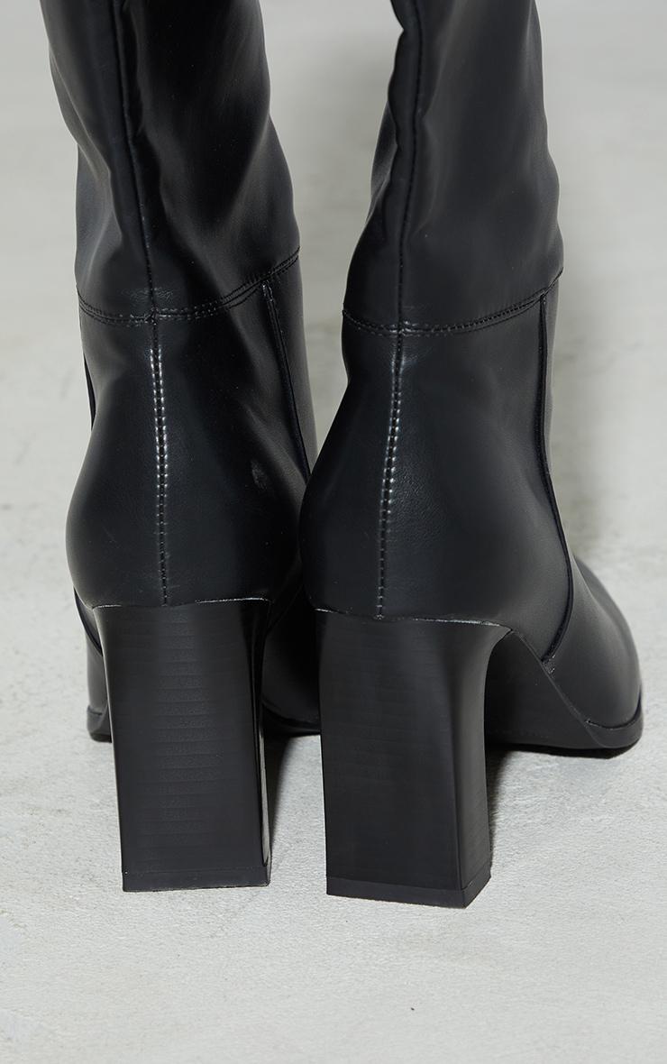 Black Block High Heel Knee Boots 4